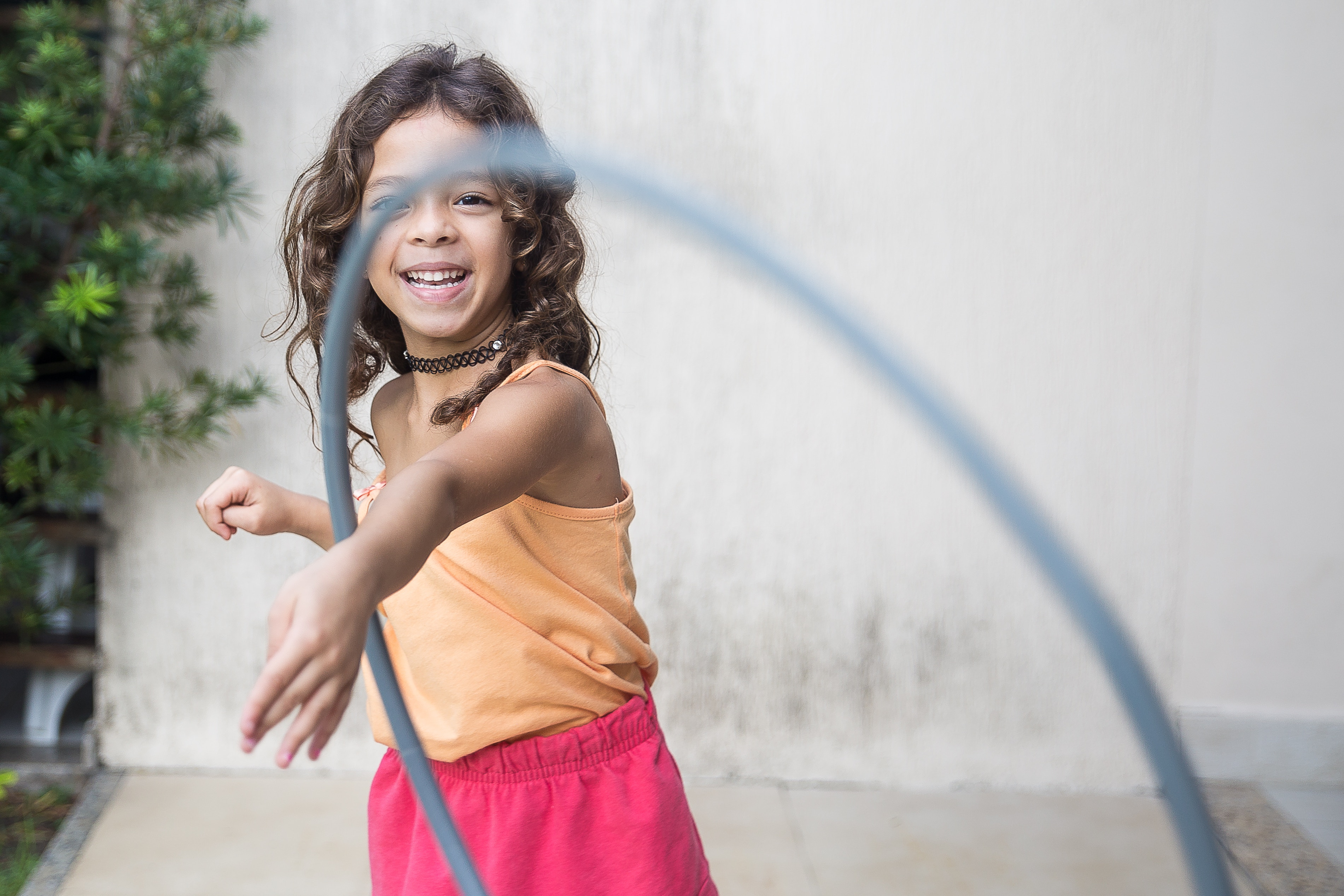 Girl playing with hula