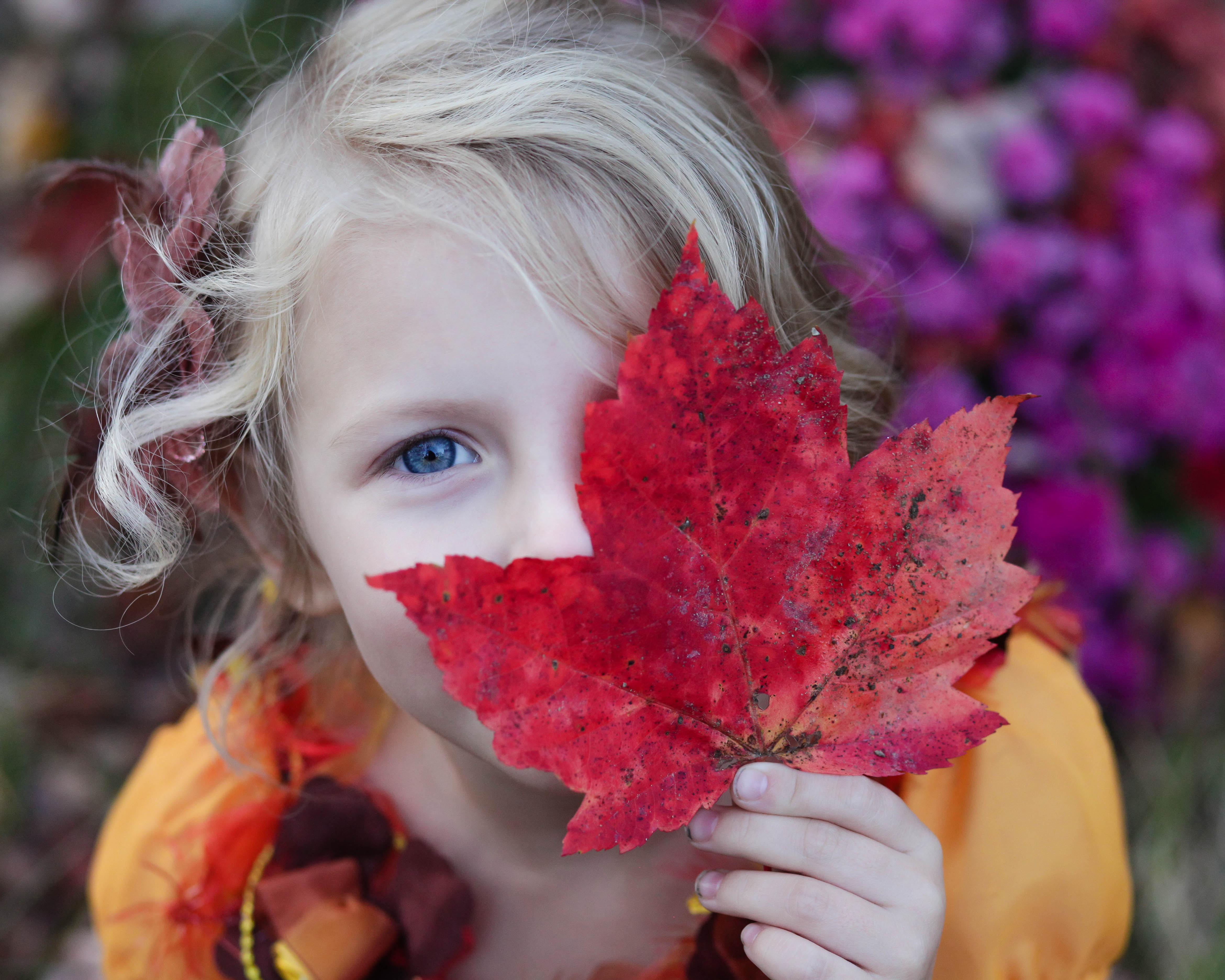 Kid with leaf